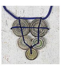 recycled paper pendant necklace, 'cross my blue heart' (ghana)