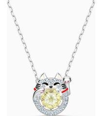 collana swarovski sparkling dance cat, multicolore chiaro, placcato rodio