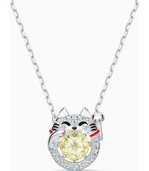 collana swarovski sparkling dance cat, multicolore chiaro, placcato rodio