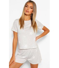 pyjama shorts set met sterrenprint, grey