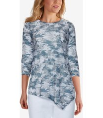 ruby rd. petite beaded camo-print tunic top