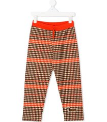mini rodini houndstooth-print track trousers - orange