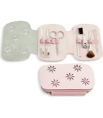 8-piece leather & suede case & stainless steel manicure set