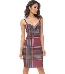 vestido colcci curto xadrez vinho/rosa