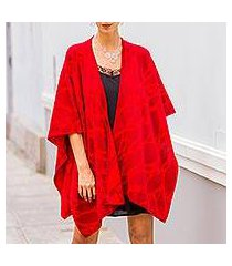 reversible alpaca blend ruana cape, 'cherry leaf' (peru)
