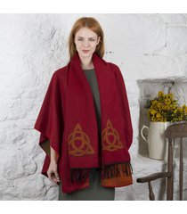 trinity knot celtic shawl and scarf set red