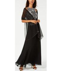 j kara beaded gown & chiffon scarf