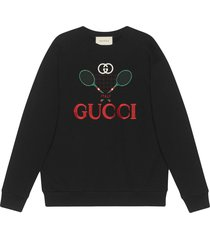 gucci gucci tennis oversized sweatshirt - black