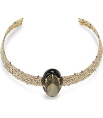 alexis bittar women's 10k goldplated, crystal & labradorite & crystal doublet cuff necklace