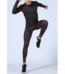 hombres pro ajustado aptitud traje de entrenamiento deportivo estiramiento ropa de secado rápido traje de manga larga tand pantalones