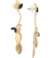 rachel rachel roy gold-tone crystal & petal linear drop earrings