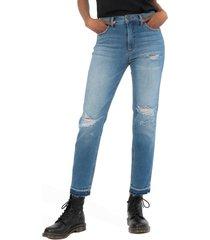 women's kut from the kloth naomi fab ab ripped high waist crop slim straight leg jeans, size 4 - blue