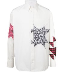 calvin klein 205w39nyc embellished patchwork shirt - white