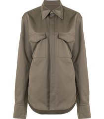 dion lee belted utility shirt - green