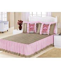 kit colcha (colcha porta travesseiro) casal bia caqui com rosa liso com 5 peças - aquarela