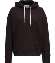 jil sander brown cotton hoodie with logo embroidery