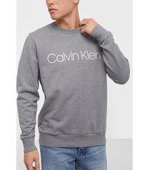 calvin klein cotton logo sweatshirt tröjor grey