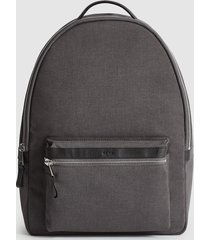 reiss bronnman - leather trim backpack in grey, mens