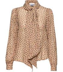 printed georgette blouse lange mouwen beige ganni