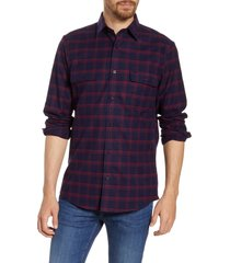 men's nordstrom trucker regular fit plaid flannel button-up shirt, size x-large - blue