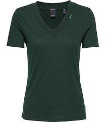 feminine tee with deep v neck in linen mix quality t-shirts & tops short-sleeved grön scotch & soda