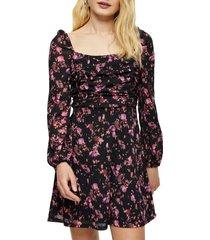 women's topshop floral print ruched tea dress, size 8 us - black