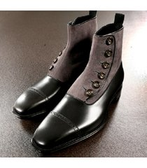 handmade men two tone formal boot, men button up boot, cap toe ankle boot