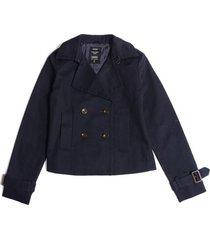 chaqueta color siete para mujer - azul