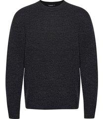 isaac crew neck sweater stickad tröja m. rund krage grå j. lindeberg