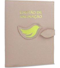 4c15eff0ca porta cartão de vacina relicário de couro nude / dourado