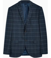 mens navy check skinny blazer