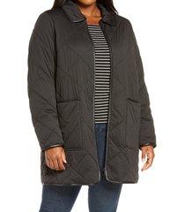 plus size women's halogen quilted barn coat, size 2x - black