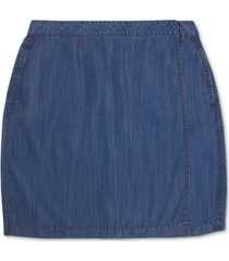 charter club denim wrap-style mini skirt, created for macy's