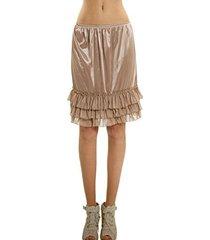 [shop lev] women's satin half slip skirt extender with three tiered ruffle hem