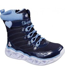 botín heart lights - heart chaser azul marino skechers