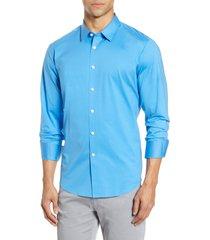 men's bugatchi knit button-up shirt, size small - blue