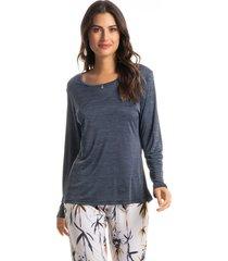pijama longo estampado aline