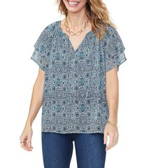 not your daughter's jeans women's print peasant top - blue multi - size s