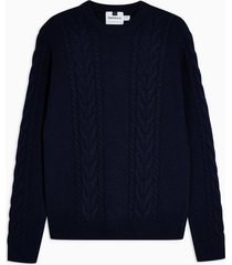 mens navy cable knit sweater with wool
