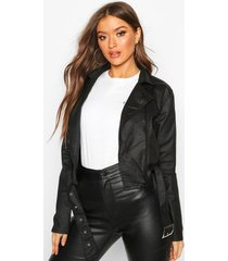 coated denim biker jacket, black