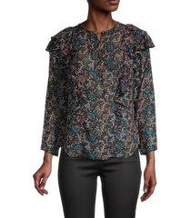 veronica beard women's aneri floral silk blouse - black multi - size 8