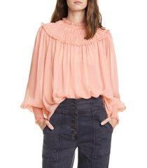 women's ulla johnson arabella shirred silk blouse