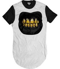 camiseta manga curta skull clothing dente dourado branco