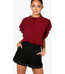 woven frill sleeve and neck blouse, burgundy
