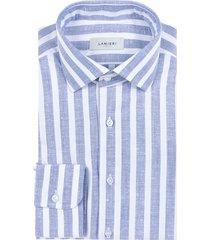 camicia da uomo su misura, albini, blu maxi rigata, primavera estate   lanieri