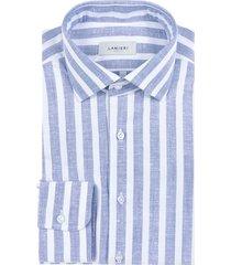 camicia da uomo su misura, albini, blu maxi rigata, primavera estate | lanieri