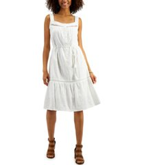 style & co cotton belted tiered dress, in regular and petite, created for macy's