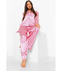 petite hartjes wide leg pyjama set met broek, pink