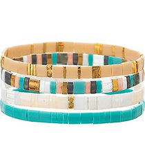 luxe sandra 4-piece goldtone & cubic zirconia stretch bracelet set
