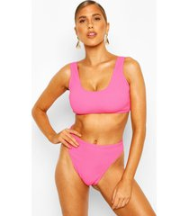 mix & match crinkle crop top, pink